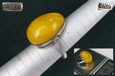 SILVER Ring BALTIC AMBER size 8.75 Star stamp 875 Soviet Russian USSR 4,41g