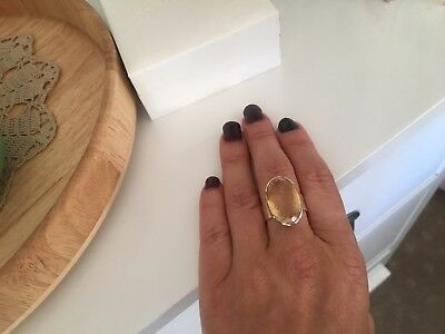 Sterling Silver Chunky Citrine Faceted Ring
