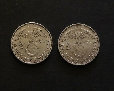 1937 & 1939 2 Mark German,Germany Coins.(2).