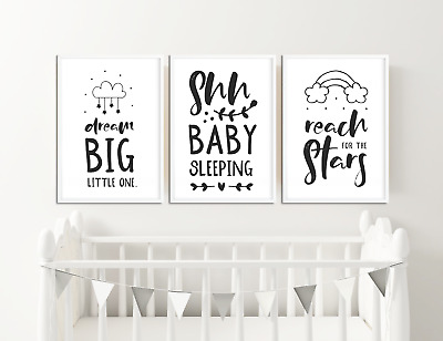 Black Nursery Prints Boys / Girls Bedroom Pictures Baby Room Decor Ideas Baby