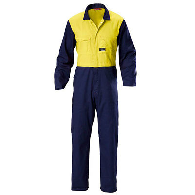 Brand New Hard Yakka Two Tone Cotton Drill Coverall - Size 102R - Hi Vis Overall