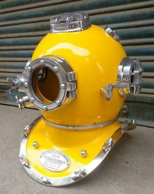 Yellow Paint & Nickel Finish U.S. Navy Diving Helmet Mark V ~ Collectibles Gift