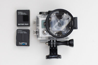 GoPro HERO 3 with screen 2 batteries, underwater housing & close up lens.