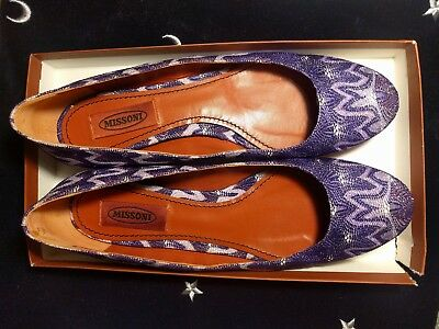 MISSONI Purple wave ballet flats worn once 39 made in italy leather sole lurex