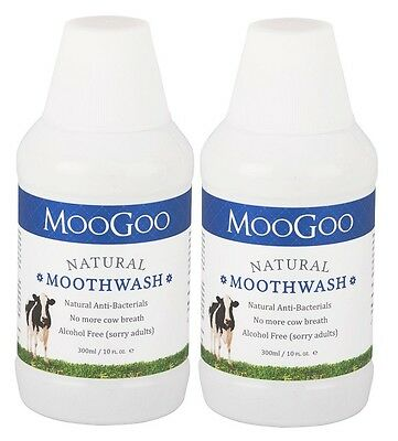2 x MOO GOO Natural Moothwash 300ml. Moogoo Mouthwash Multi Buy.