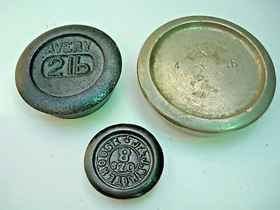 3 misc. scale weights 1 4lb steel, 1 8oz JJ Whitehouse, 1 2lb Avery in vg cond.