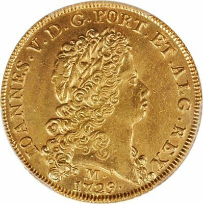 1729 Gold 12800 Reis Brazil, Very Rare Huge Coin, Pcgs Au Graded