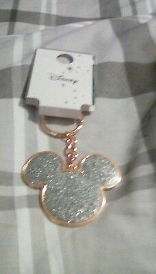 Primark Rose Gold Sparkly Mickey Keyring New