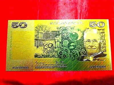 Australian $50 24 Kt Gold Banknote 3D Coloured Color Bank Note Limited Ed Gift