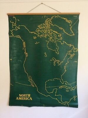 School map, vintage, double sided, North America and South America