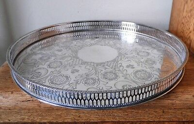 SUPERB VINTAGE 1950s ORNATE VINERS SHEFFIELD SILVER PLATED PIERCED GALLERY TRAY