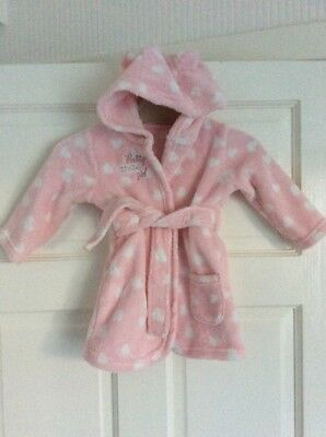 Baby Girl's George Pink & White Spotted Soft Touch Hooded Robe Age 6 - 9 months