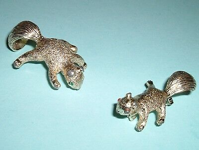 Lot of 2 Cute Squirrel Vintage Brooches signed Gerry's Pale Gold Covered Metal
