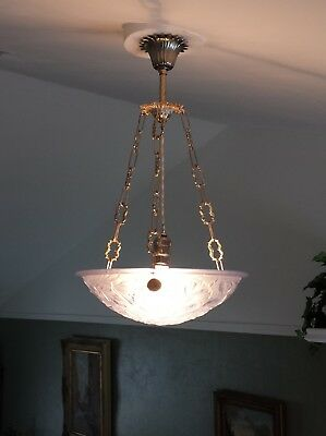 Antique French Art Deco blue glass nickeled chandelier bowl ceiling light 1920's