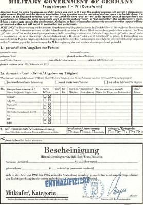 Entnazifizierungsschein Persilschein 1945 Military Government of Germany