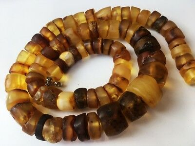 Antique Amber Natural Old Butterscotch Egg Yolk Baltic Beads Necklace 69 gr