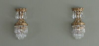 Pair antique French heavy brass crystal waterfall sconce drops prisms