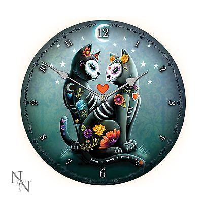 Designer Clock Collection Starry Night 2 Black Cats Wall Clock 34cm  Punk Cats