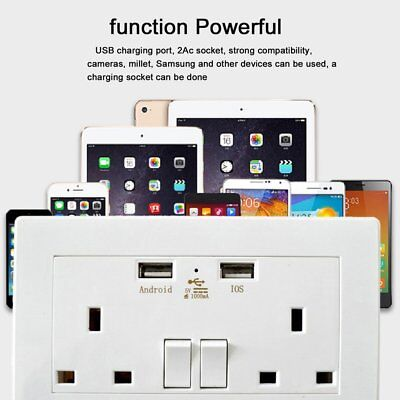 Double Wall Plug Socket 2 Gang 3A with 2 USB Ports Screwless Slim Flat Plate BT