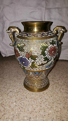 "Antique Brass Cloisonne Vase Hand Painted Japan Dragon Handles 9"" Tall"