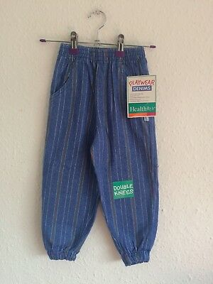 Vintage Kids NOS Healthtex Unisex 90s Striped Denim Trousers Jeans 3-4 Y