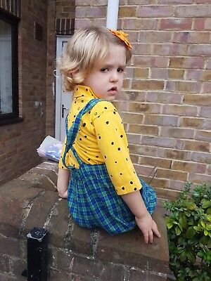Vintage Kids Unisex 90s Green Plaid Checked Salopettes Overalls Dungarees 3-4 Y