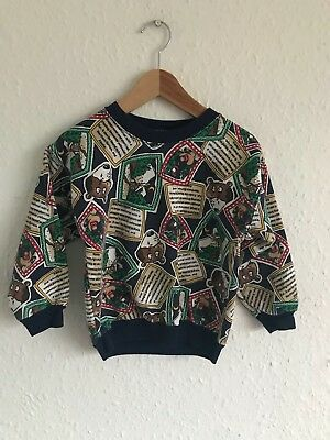 Vintage Kids Brown Bear 90s Kitsch Retro Novelty Jumper Sweatshirt 18-24 M