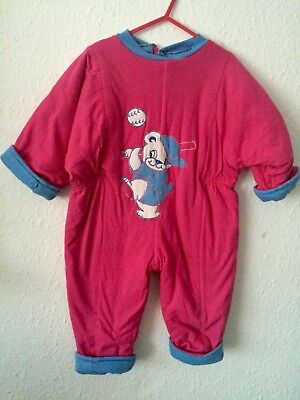 Vintage Kids Unisex Padded Baseball Novelty Pink Romper Playsuit 80s 90s 2 Y