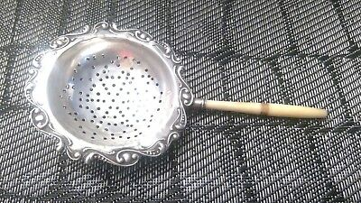 Vintage Sterling Silver Tea Strainer Bone Handel