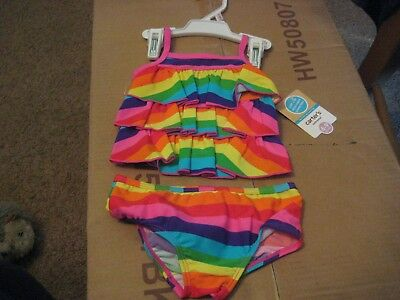 CARTER'S   Girls Size 6 - 9 MONTHS RAINBOW COLORS   2 PIECE  Swimming Suit   NWT