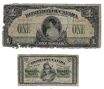 PM1 (2) Bills Dominion Of Canada 1870 25cents and Large Bill 1917 $1.00