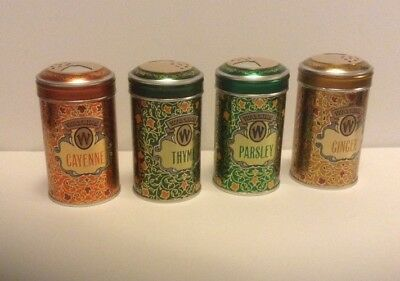 vintage set of 4 Watkins spice tin canisters . 1987 collectors edition litho usa