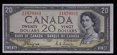 1954 $20 Canada Paper Note  DEVILS FACE HAIRDO Circulated