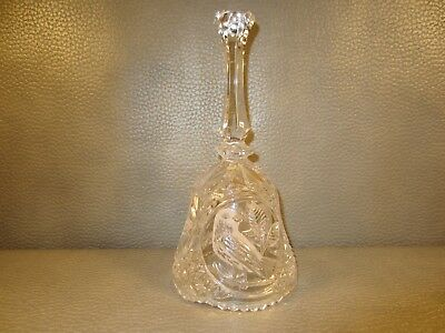 Vintage West German Lead Crystal Dinner Bell Bird Motif 8 inches Tall NEVER USED