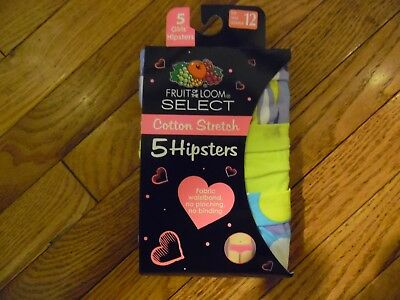 Girls Fruit Of The Loom Hipsters Panties Size 12 (5 Pair) NWT