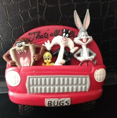 "1997 Looney Tunes 4-Piece Magnet: Taz, Bugs, Sylvester in Red ""BUGS"" Car"