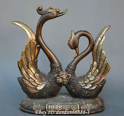 Collect China fengshui old Bronze Double crane Sweet as honey marry lucky Statue