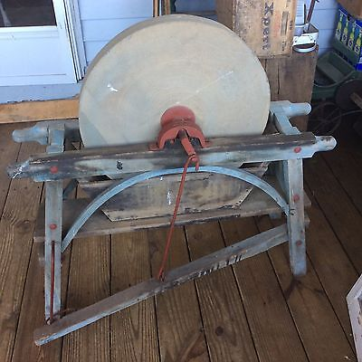 Antique Primitive Blue Whetstone Grinding Stone With Foot Pedal and Hand