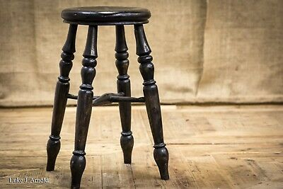 Early 20th Century Antique Ebonised Turned Beech Stool