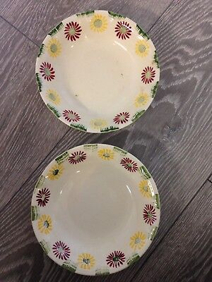 Vintage Retro Royal Art Pottery Bowls Dishes Yellow Red Green Flower Pattern X 2
