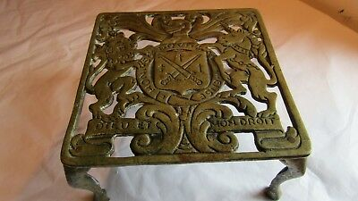 Vintage Solid Brass Trivet ROYAL COAT OF ARMS LION & UNICORN Dieu et mon Droit