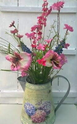 Artificial Wild Flowers Chintz Green Pink Butterfly Vintage Style Jug 3 Styles