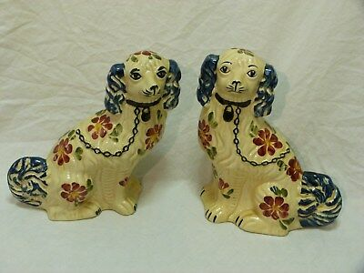Two   Hand   Painted  Staffordshire  Mantle  Dogs