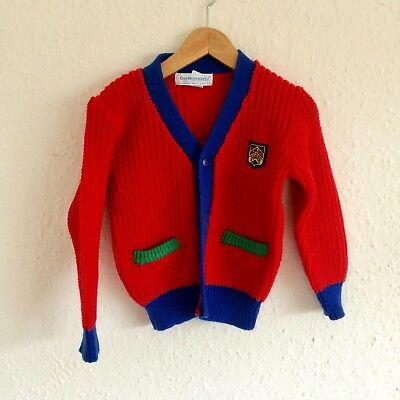 Vintage Kids Osh Kosh Bgosh Red Blue Classic Preppy 90s Cardigan Jumper 2 3 Y