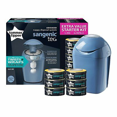 Tommee Tippee Sangenic Tec Nappy Disposal Starter Kit, Turquoise NEW