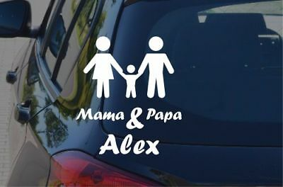 Baby on Board Mama Papa Junge *Name* Aufkleber Sticker on Tour Farbwahl  #D075