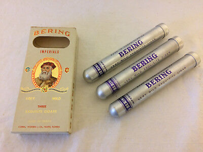 3 Empty Bering Imperials Tobacco Cigar Tube Holders in Box Aluminum