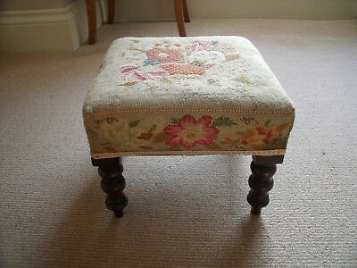 Georgian Mahogany Stool With Original Needlepoint Top Tapestry Pretty