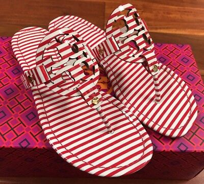 199c5d0f1641 NIB Tory Burch Patent Leather Miller Sandal Thong Red White Striped 7  195