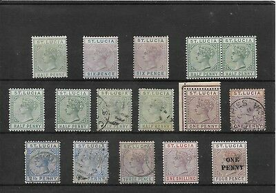St. Lucia 1883-92 Mnh/mh/used Selection Of Values To 1/-. (16 Stamps). (467)